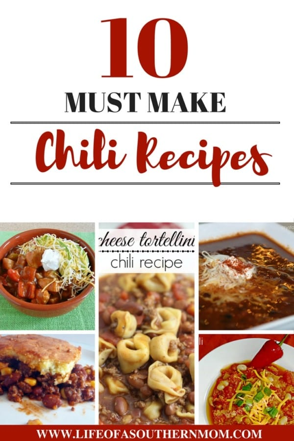 Here are 10 awesome chili recipes to share with you from some of my favorite bloggers! From quick throw together recipes to a spicy Chicken Fajita version that will have your family hoping for leftovers, there is something on this list for everyone!